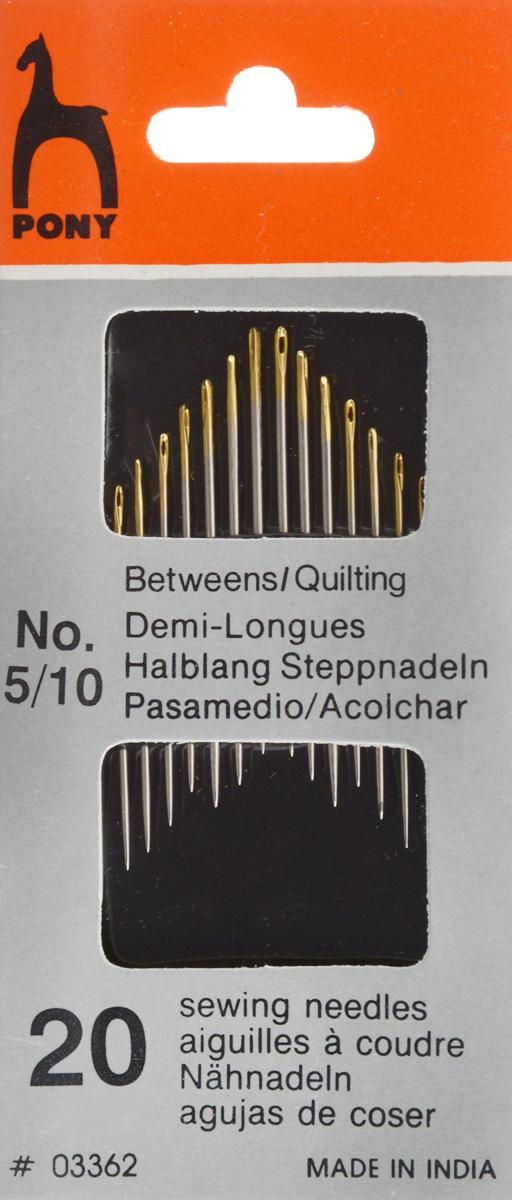 Иглы портновские Pony Betweens, с золотым ушком, №5/10, 20 шт. 0336203362Портновские иглы Pony Betweens, выполненные из высококачественной стали, могут быть использованы для большинства видов шитья. Оснащены ушком золотого цвета. Длина игл: 2,55-3,35 см. Размер игл: №5/10. Диаметр игл: 0,46-0,86 мм.