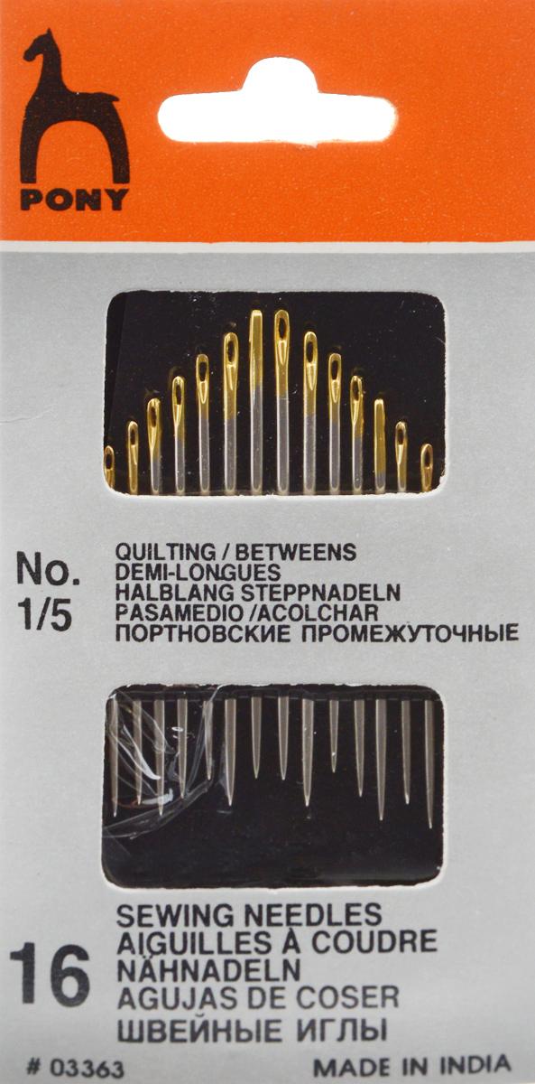 Иглы портновские Pony, №1/5, 16 шт. 0336303363Портновские иглы Pony Betweens, выполненные из высококачественной стали, могут быть использованы для большинства видов шитья. Имеют золотое ушко. Длина игл: 3,35-4,1 см. Размер игл: №1/5. Диаметр игл: 0,86-1,17 мм.