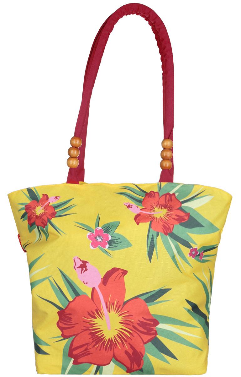 Сумка пляжная женская Fabretti, цвет: желтый, зеленый, оранжевый. 5020550205Яркая пляжная женская сумка Fabretti выполнена из полиэстера и оформлена цветочным принтом. Изделие состоит из одного вместительного отделения и закрывается на пластиковую застёжку-молнию. Внутри отделения на боковой стенке расположен один накладной карман на молнии для мелких принадлежностей и небольшой кармашек для телефона. Сумка оснащена двумя удобными уплотнёнными ручками, которые декорированы деревянной фурнитурой. Дно дополнено плотной вынимающейся основой, что придает большую устойчивость. Размеры сумки позволят вместить в нее все необходимое, что понадобится вам на пляже. Практичная, яркая и стильная сумка прекрасно завершит ваш образ и будет незаменима в летний период.