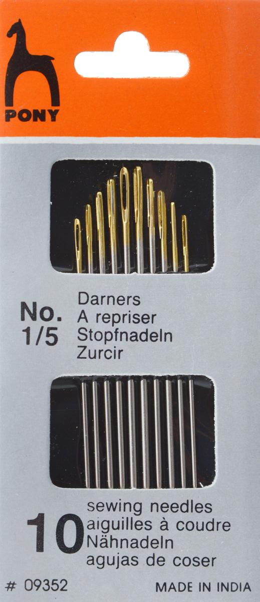 Иглы Pony, ремонтные, универсальные, №1/5, 10 шт. 0935209352Универсальные ручные иглы Pony предназначены для ремонта одежды. Изделия выполнены из высококачественной стали. Имеют золотое ушко. Размер игл: №1/5. Длина игл: 6,05-5,15 см. Диаметр игл: 1,17-0,86 мм. Количество игл: 10 шт.