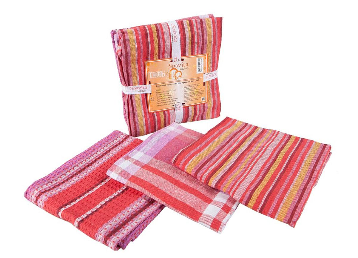 Набор кухонных полотенец Soavita Line, цвет: белый, красный, розовый, 50 х 70 см, 3 шт65803Набор Soavita Line состоит из трех полотенец, выполненных из 100% хлопка. Изделия предназначены для использования на кухне и в столовой. Набор полотенец Soavita Line - отличное приобретение для каждой хозяйки. Комплектация: 3 шт.