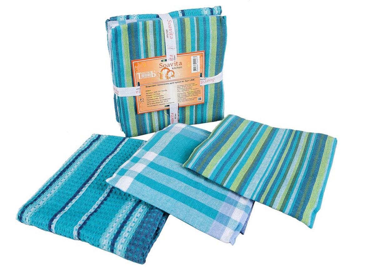 Набор кухонных полотенец Soavita Line, цвет: белый, синий, бирюзовый, 50 х 70 см, 3 шт65804Набор Soavita Line состоит из трех полотенец, выполненных из 100% хлопка. Изделия предназначены для использования на кухне и в столовой. Набор полотенец Soavita Line - отличное приобретение для каждой хозяйки. Комплектация: 3 шт.