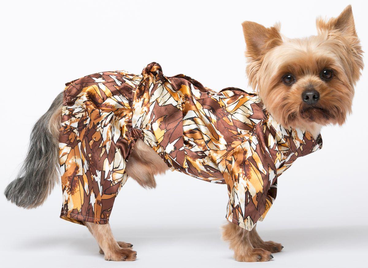 Халат для собак Yoriki Шелк, для мальчика. Размер XL002-4Халат для собак Yoriki изготовлен из высококачественного искусственного шелка. Он предназначен для использования после мытья питомца. Изделие застегивается на спине на кнопки. Мягкий, нежный, приятный на ощупь халат понравится вашему питомцу. Обхват шеи: 30-34 см. Длина по спинке: 33 см. Объем груди: 46-53 см.