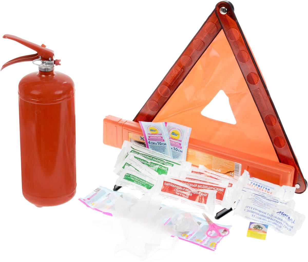 Набор аварийный REXXON Техосмотр Standard 21-07-1-1-0Состав: Сумка для хранения (водонепроницаемая) огнетушитель ОП-2 Аптечка в Zip-пакете по Приказу Знак аварийной остановки