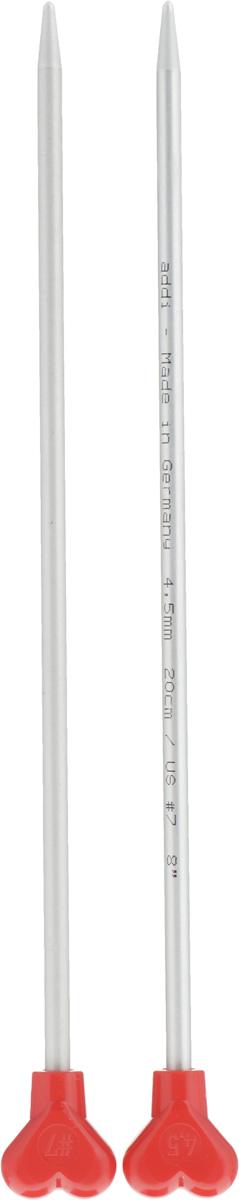 Спицы Addi, металлические, прямые, диаметр 4,5 мм, длина 20 см, 2 шт200-7/4.5-20Спицы для вязания Addi, изготовленные из алюминия, обладают прекрасными тактильными качествами и благородным серебристо-матовым цветом. На кончиках в качестве стопперов есть фирменный логотип Addi в виде сердечка, что придает спицам уникальный вид. Прямые спицы используются при плоском вязании отдельных деталей, которые впоследствии будут сшиты в цельное изделие. Вы сможете вязать для себя и делать подарки друзьям. Рукоделие всегда считалось изысканным, благородным делом. Работа, сделанная своими руками, долго будет радовать вас и ваших близких.