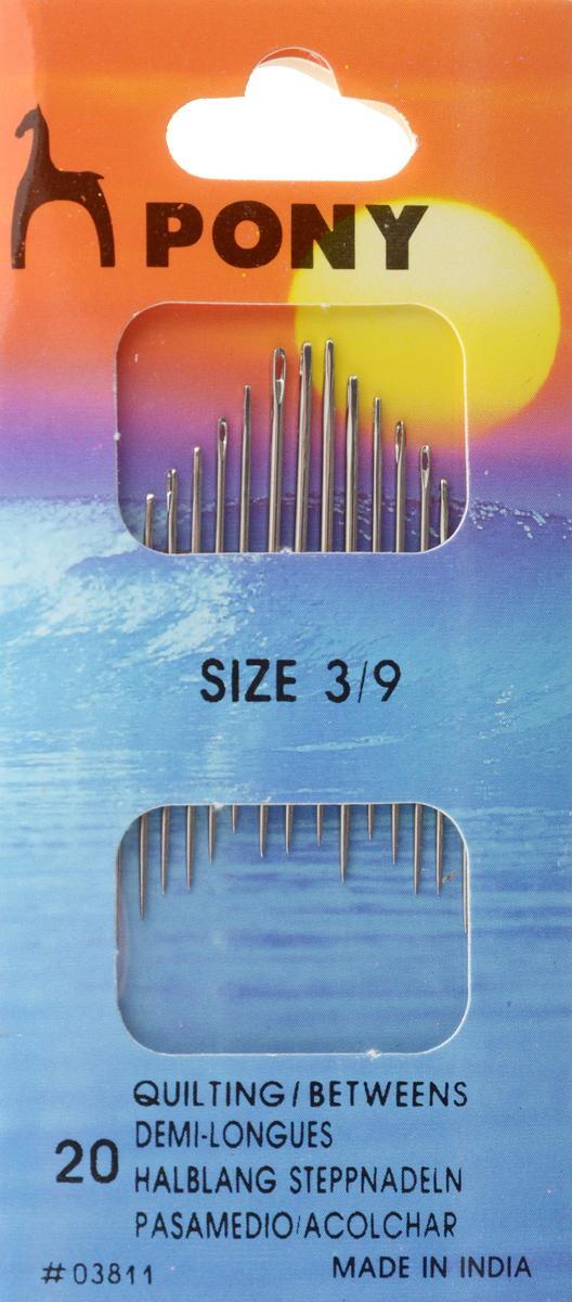 Иглы портновские Pony Betweens, №3/9, 20 шт03811Портновские иглы Pony Betweens могут быть использованы для большинства видов шитья. Изделия выполнены из высококачественной стали. Длина игл: 2,7-3,7 см. Размер игл: №3/9. Диаметр игл: 0,53-1,02 мм.