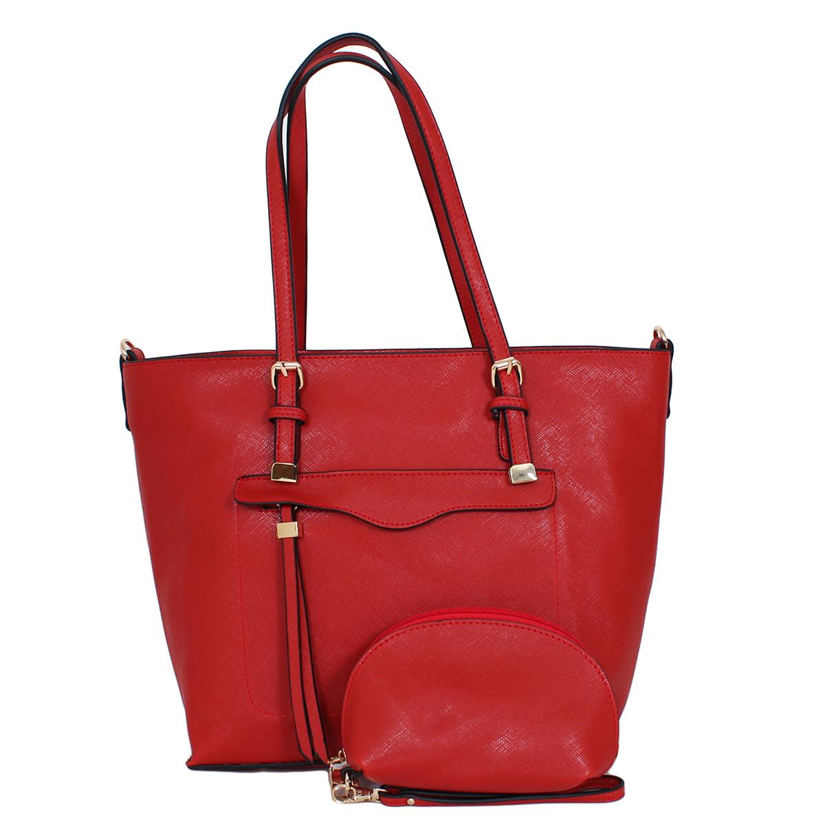 Сумка женская Flioraj, цвет: красный. 0005161600051616В комплекте сумка и косметичка. Сумка закрывается на молнию, внутри одно отделение, снаружи один карман на молнии. Косметичка закрывается на молнию, внутри одно отделение.