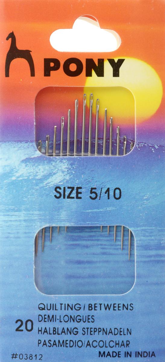 Иглы портновские Pony Betweens, №5/10, 20 шт03812Портновские иглы Pony Betweens могут быть использованы для большинства видов шитья. Изделия выполнены из высококачественной стали. Длина игл: 2,55-3,35 см. Размер игл: №5-10. Диаметр игл: 0,46-0,86 мм.