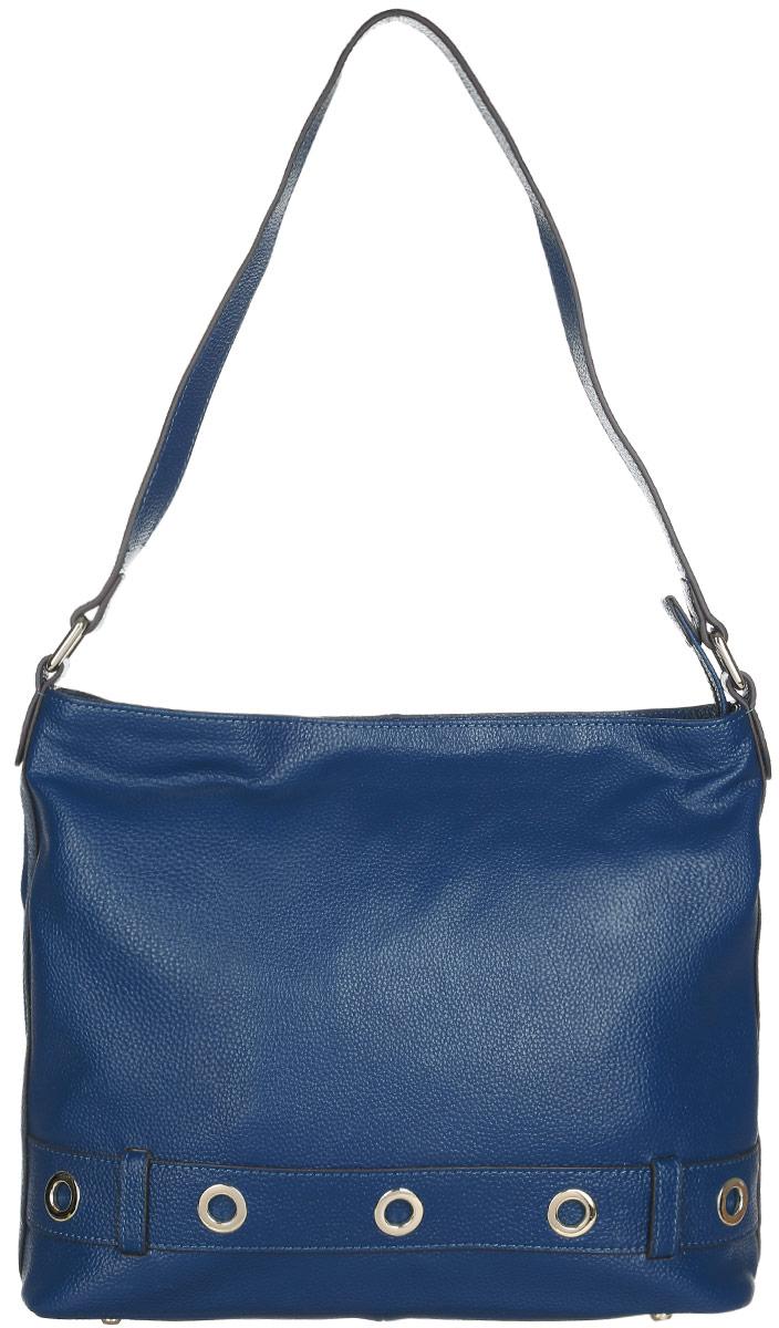 Сумка женская Fabretti, цвет: темно-бирюзовый. N2536N2536-blueСтильная и практичная женская сумка Fabretti изготовлена из натуральной кожи зернистой фактуры и оформлена декоративным ремешком с металлическими люверсами. Изделие состоит из одного основного отделения и застёгивается на металлическую застежку-молнию. Отделение содержит карман-средник на молнии, два врезных кармана на молниях и два нашивных кармашка для телефона и мелочей. На задней стенке предусмотрен врезной карман на молнии. Изделие оснащено удобной ручкой, высота которой позволяет носить сумку на сгибе руки или на плече. Дно сумки дополнено металлическими ножками. Прилагается фирменный текстильный чехол для хранения изделия. Сумка Fabretti внесет элегантные нотки в ваш образ и подчеркнет ваше отменное чувство стиля.
