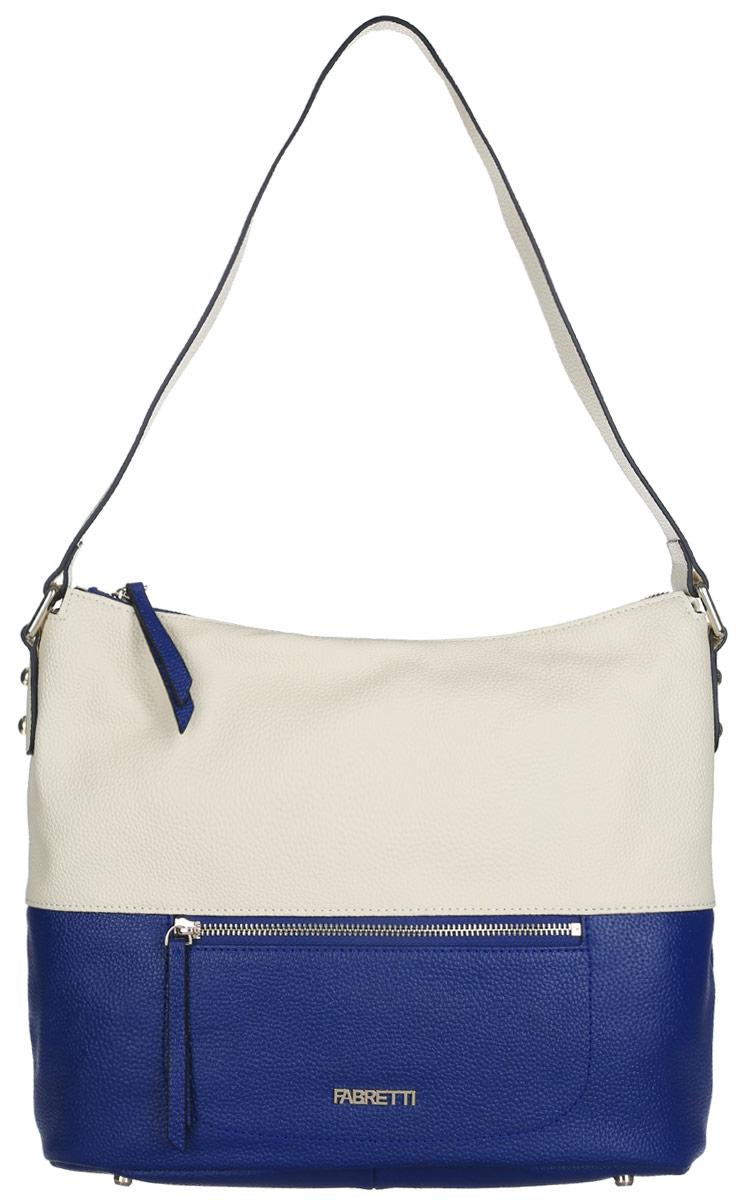 Сумка женская Fabretti, цвет: молочный, синий. N2535N2535-blueСтильная женская сумка Fabretti выполнена из натуральной кожи с фактурным тиснением. Изделие содержит одно вместительное отделение, которое закрывается на застежку-молнию. Внутри расположено два накладных кармашка для мелочей, карман-средник на застежке-молнии и два врезных кармана на молнии. Снаружи, на лицевой и на тыльной сторонах сумки расположен врезной карман на застежке-молнии. Сумка оснащена удобным плечевым ремнем. Дно сумки дополнено металлическими ножками. Оригинальный аксессуар позволит вам завершить образ и быть неотразимой.