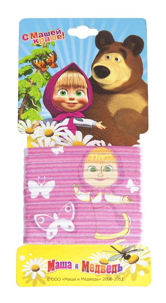 Маша и медведь Набор резинок для волос с принтом цвет фуксия 12 шт