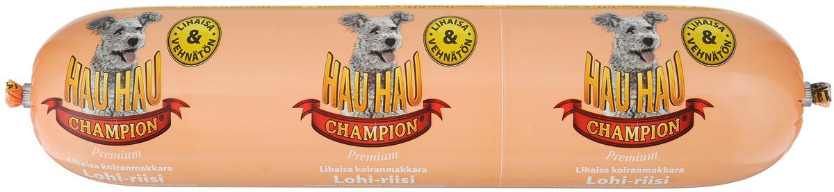 Колбаса для собак Hau-Hau, из лосося с рисом, 800 г81888Колбаса для собак Hau-Hau содержит большое количество мяса и подходит для собак любых размеров. Колбаса изготовлена из свежего мяса и рыбы, содержание которых не менее 95%. Как связующее вещество используется мелкомолотый рис, продукт также обогащен витаминами и минералами. Колбаса не содержит пшеницы, красителей и консервантов. До вскрытия упаковки можно хранить при комнатной температуре. Открытый продукт следует хранить в холодильнике в течение 2-3 дней. Товар сертифицирован.