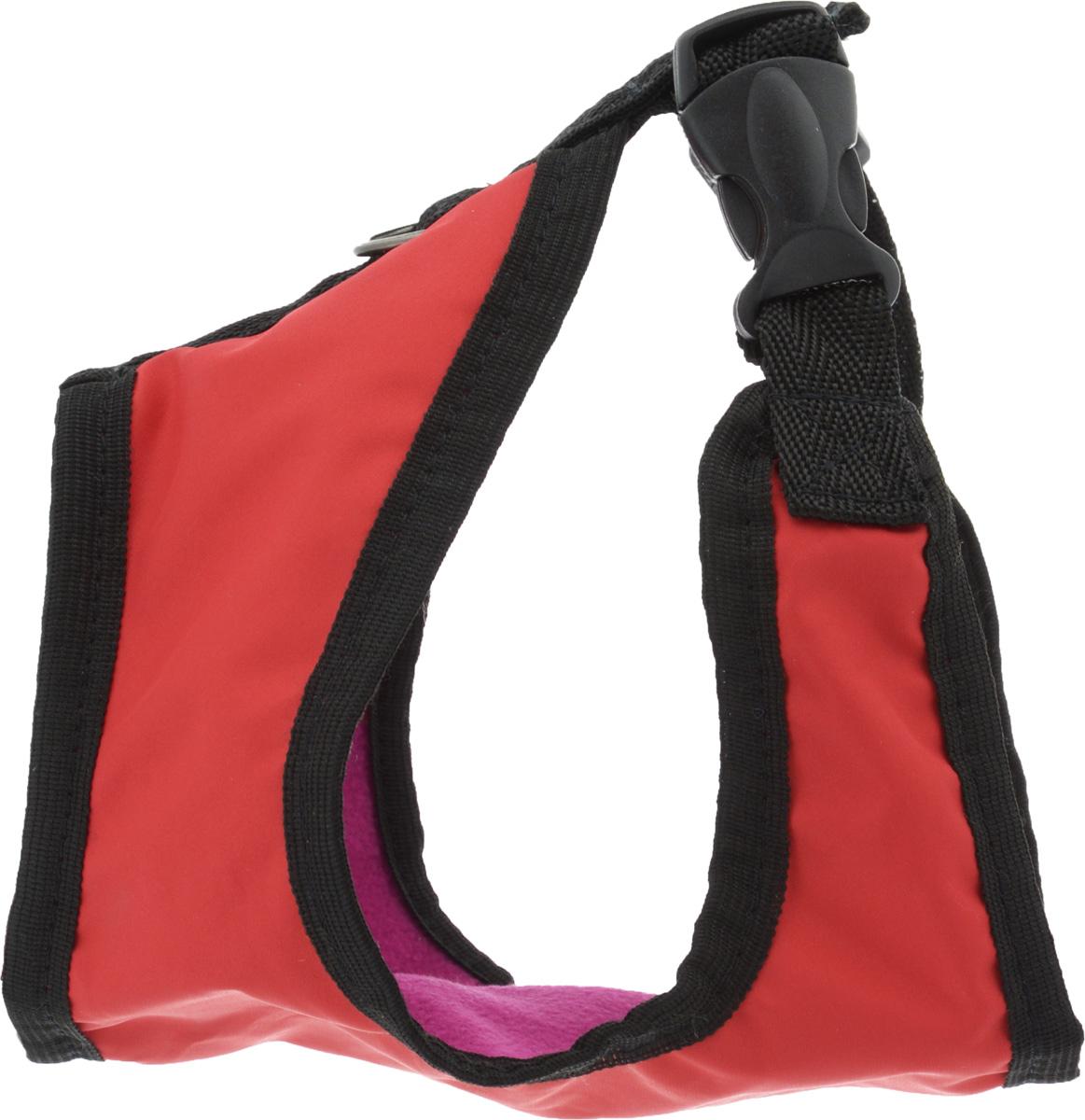 Шлейка для собак ЗооМарк, цвет: черный, красный флис, фуксия. Размер: 1Ш-1к_в ассортиментеШлейка для собак ЗооМарк выполнена из оксфорда, а на подкладке используется флис. Изделие оснащено специальным крючком, к которому вы с легкостью сможете прикрепить поводок. Шлейка имеет застежку фастекс и регулируется при помощи пряжки. Шлейка - это альтернатива ошейнику. Правильно подобранная шлейка не стесняет движения питомца, не натирает кожу, поэтому животное чувствует себя в ней уверенно и комфортно. Изделие отличается высоким качеством, удобством и универсальностью. Обхват груди: 22-25 см. Длина спинки: 14 см. Ширина ремней: 2 см.