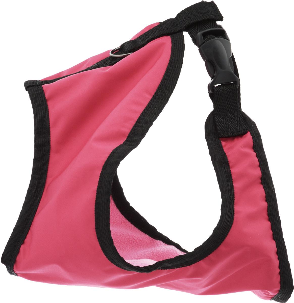 Шлейка для собак ЗооМарк, цвет: розовый, светло-розовый флис, черный. Размер: 3Ш-3_розовыйШлейка для собак ЗооМарк выполнена из оксфорда, а на подкладке используется флис. Изделие оснащено специальным крючком, к которому вы с легкостью сможете прикрепить поводок. Шлейка имеет застежку фастекс и регулируется при помощи пряжки. Шлейка - это альтернатива ошейнику. Правильно подобранная шлейка не стесняет движения питомца, не натирает кожу, поэтому животное чувствует себя в ней уверенно и комфортно. Изделие отличается высоким качеством, удобством и универсальностью. Обхват груди: 25-30 см. Длина спинки: 17 см. Ширина ремней: 2 см.