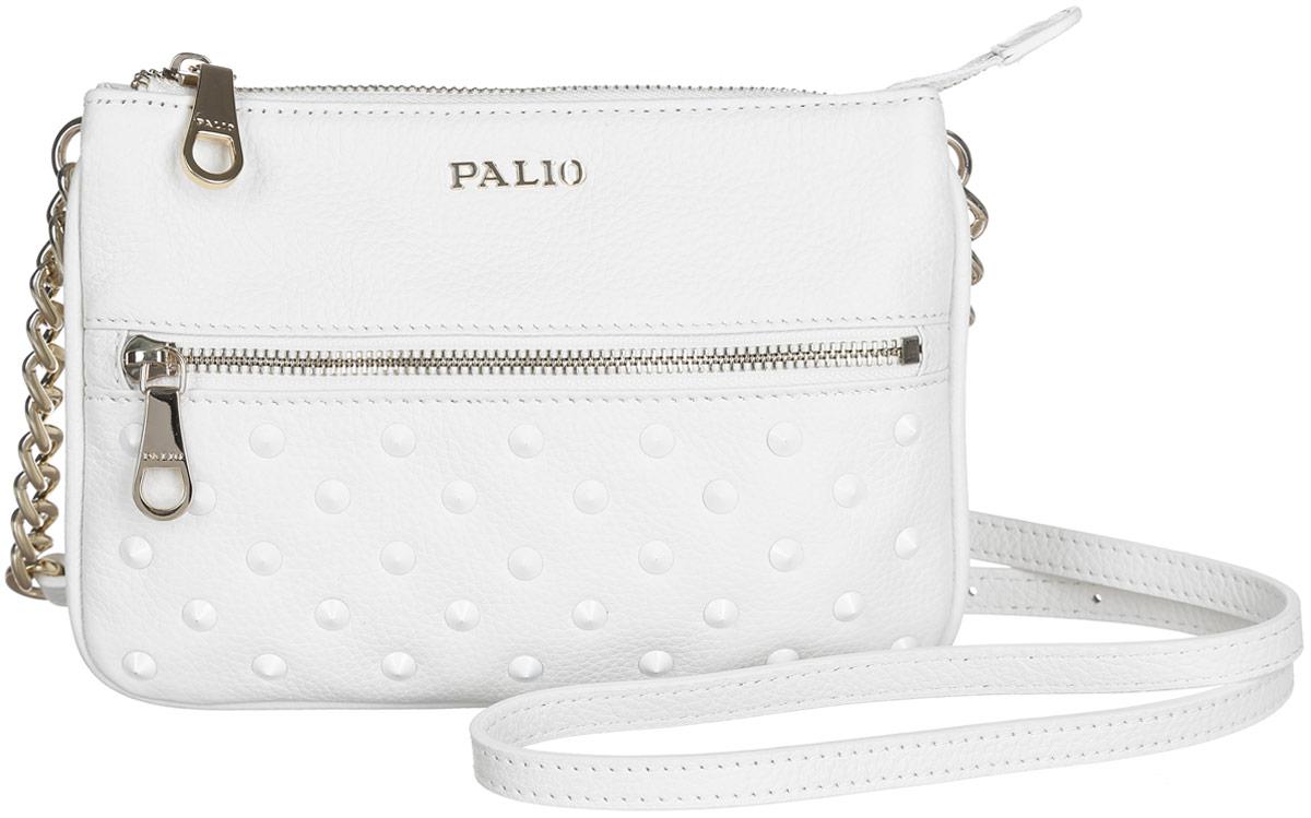 Сумка женская Palio, цвет: белый. 13755A-06513755A-065 whiteСтильная женская сумка Palio выполнена из натуральной кожи с фактурным тиснением и оформлена декоративными металлическими шипами. Изделие содержит одно отделение, разделенное на две части перегородкой, которое закрывается на застежку-молнию. Внутри расположен один накладной кармашек для мелочей и один врезной карман на молнии. Снаружи, на лицевой и тыльной сторонах сумки расположен врезной карман на застежке-молнии. Сумка оснащена удобным плечевым ремнем, который можно регулировать по длине. Оригинальный аксессуар позволит вам завершить образ и быть неотразимой.