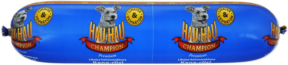 Колбаса для собак Hau-Hau, из курицы с рисом, 800 г81886Собачья колбаса Hau-Hau содержит большое количество мяса и подходит для собак любых размеров. Колбаса изготовлена из свежего мяса, содержание которого не менее 95%. Как связующее вещество используется мелко молотый рис, продукт также обогащен витаминами и минералами. Колбаса не содержит пшеницы, пищевых красителей, консервантов, крови, рыбы и свинины. До вскрытия упаковки можно хранить при комнатной температуре. Открытый продукт следует хранить в холодильнике в течение 2-3 дней. Товар сертифицирован.