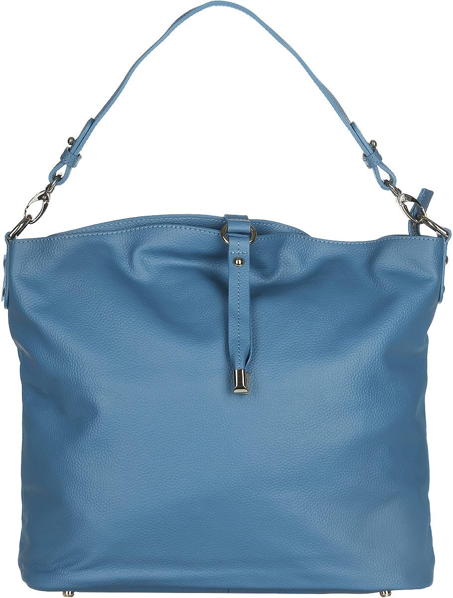 Сумка женская Fabretti, цвет: синий. N2530N2530-blueСтильная женская сумка Fabretti выполнена из натуральной кожи с фактурным тиснением и дополнена декоративным хлястиком. Изделие содержит одно вместительное отделение, которое закрывается на застежку-молнию. Внутри расположены два накладных кармашка для мелочей, карман-средник на застежке-молнии и два врезных кармана на молнии. Снаружи, на задней стороне сумки, расположен врезной карман на застежке-молнии. Сумка оснащена ручкой. Дно сумки дополнено металлическими ножками. Оригинальный аксессуар позволит вам завершить образ и быть неотразимой.