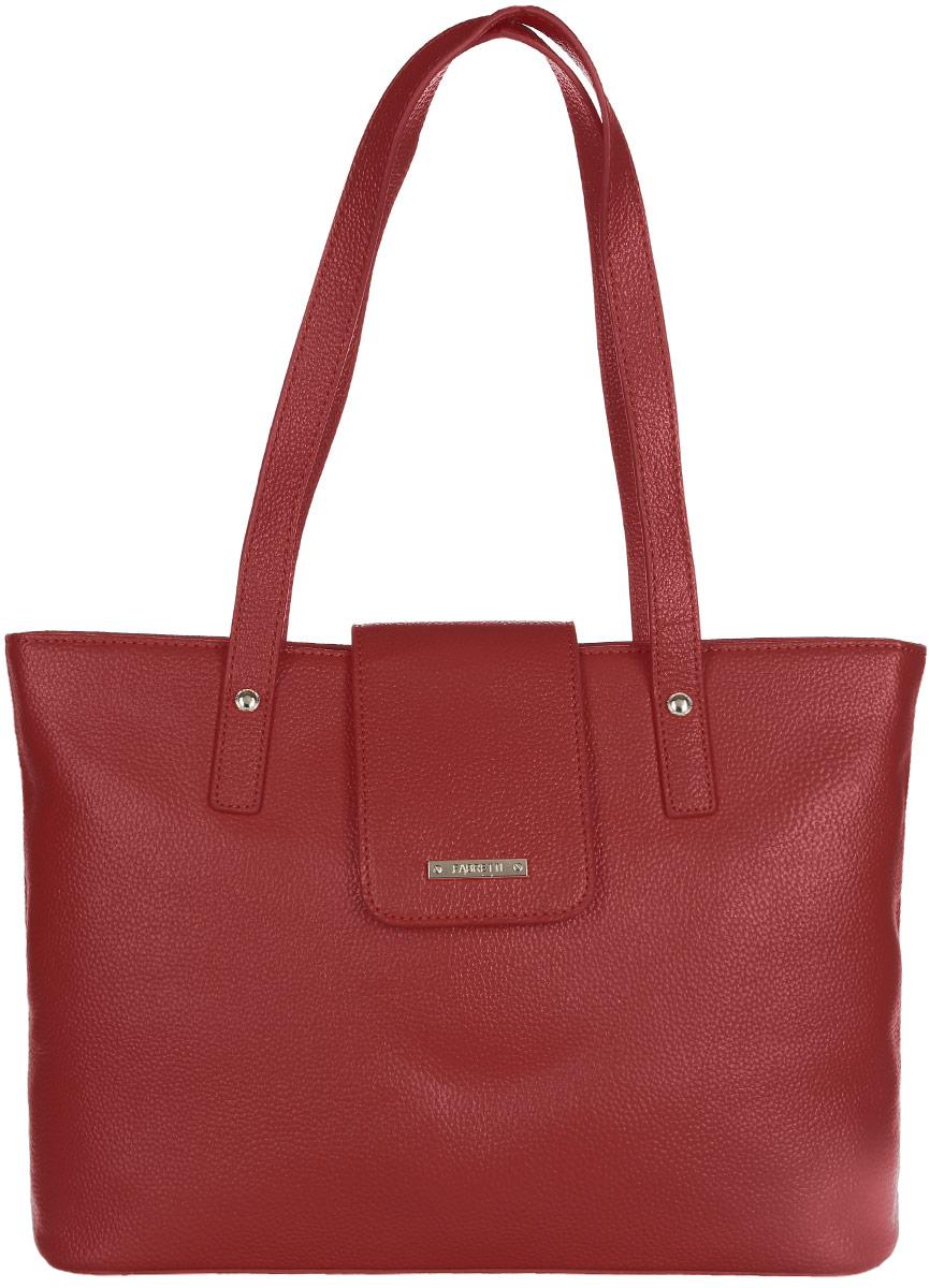 Сумка женская Fabretti, цвет: красный. N2561N2561-redСтильная женская сумка Fabretti выполнена из натуральной кожи зернистой фактуры и оформлена металлической фурнитурой с символикой бренда. Изделие состоит из одного отделения, закрывающегося на застежку-молнию и дополнительно небольшим клапаном на магнитную кнопку. Отделение содержит карман-средник на молнии, два нашивных кармана для телефона и мелочей, два врезных кармана на молниях. На тыльной стороне расположен врезной карман на молнии. Сумка оснащена двумя удобными ручками, высота которых позволяет носить ее в руке, на запястье или на плече. Дно сумки дополнено металлическими ножками, защищающими ее от механических повреждений. Прилагается фирменный текстильный чехол для хранения изделия. Сумка Fabretti внесет элегантные нотки в ваш образ и подчеркнет ваше отменное чувство стиля.