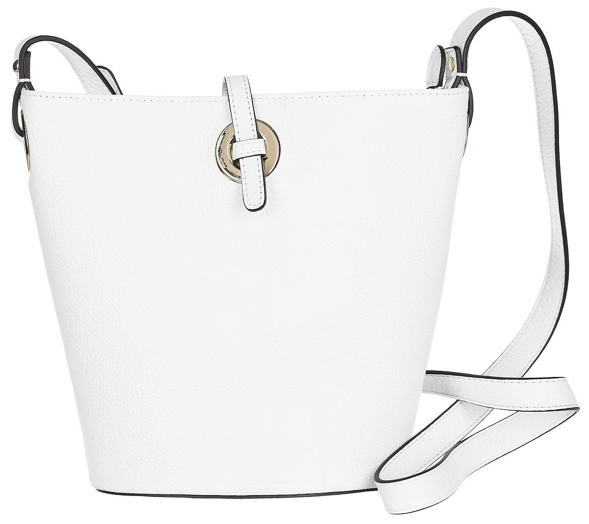 Сумка женская Palio, цвет: белый. 14379AR-06514379AR-065 whiteСтильная сумка Palio, выполненная из натуральной кожи с зернистой фактурой, оформлена металлической фурнитурой. Изделие застегивается на застежку-молнию и дополнительно на хлястик. Внутри сумки расположены: накладной кармашек для мелочей и врезной карман на молнии. На задней стороне сумки расположен врезной карман на молнии. Изделие оснащено плечевым ремнем регулируемой длины. К сумке прилагается фирменный чехол для хранения. Элегантная сумка прекрасно дополнит ваш образ.