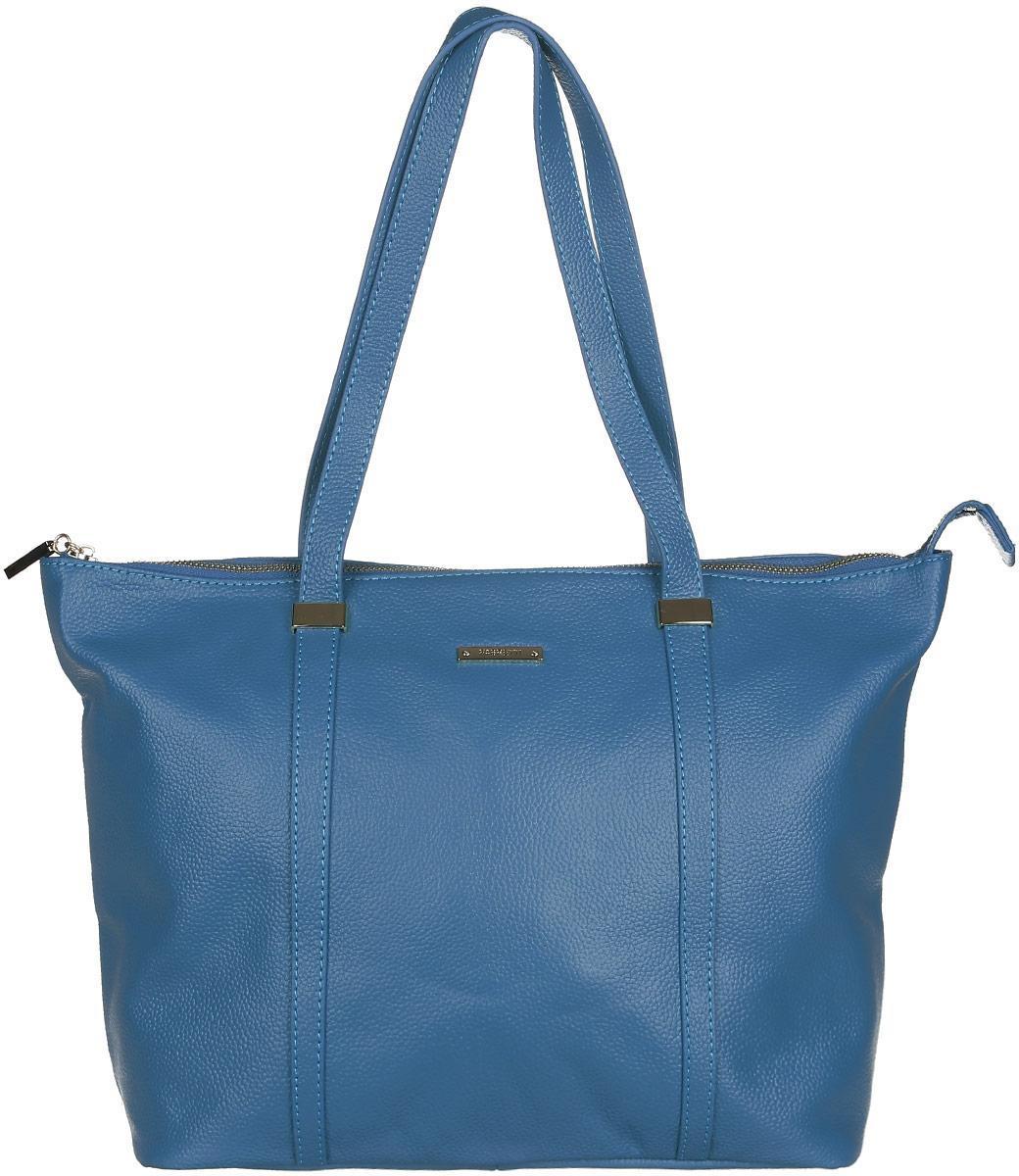 Сумка женская Fabretti, цвет: голубой. N2553N2553-blueСтильная и вместительная женская сумка Fabretti изготовлена из натуральной кожи зернистой фактуры и оформлена логотипом бренда. Изделие состоит из одного основного отделения и застёгивается на металлическую застежку-молнию. Отделение содержит карман-средник на молнии, два врезных кармана на молниях и два нашивных кармашка для телефона и мелочей. На задней стенке предусмотрен врезной карман на молнии. Изделие оснащено двумя удобными ручками, высота которых позволяет носить сумку на сгибе руки или на плече. Дно сумки дополнено металлическими ножками. Прилагается фирменный текстильный чехол для хранения изделия. Сумка Fabretti внесет элегантные нотки в ваш образ и подчеркнет ваше отменное чувство стиля.