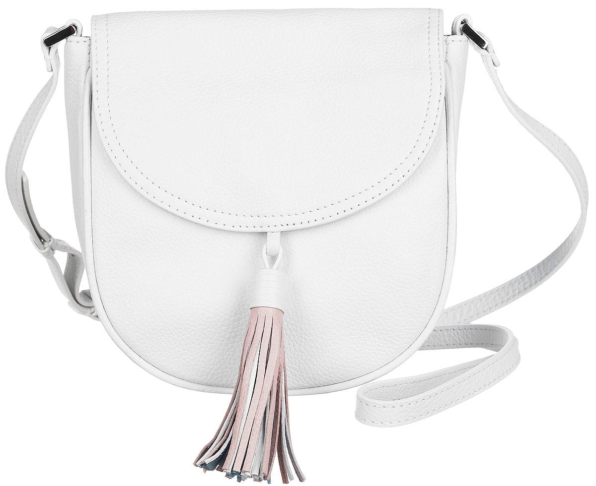 Сумка женская Palio, цвет: белый. 13719A1-W1-065/88213719A1-W1-065/882 whiteСтильная сумка Palio, выполненная из натуральной кожи с зернистой фактурой, оформлена декоративной подвеской. Изделие застегивается на застежку-молнию и дополнительно клапаном на магнитную кнопку. Внутри расположены: накладной кармашек для мелочей и врезной карман на молнии. Снаружи, на задней стороне изделия, расположен врезной карман на молнии. Изделие оснащено наплечным ремнем регулируемой длины. К сумке прилагается фирменный чехол для хранения. Элегантная сумка прекрасно дополнит ваш образ.