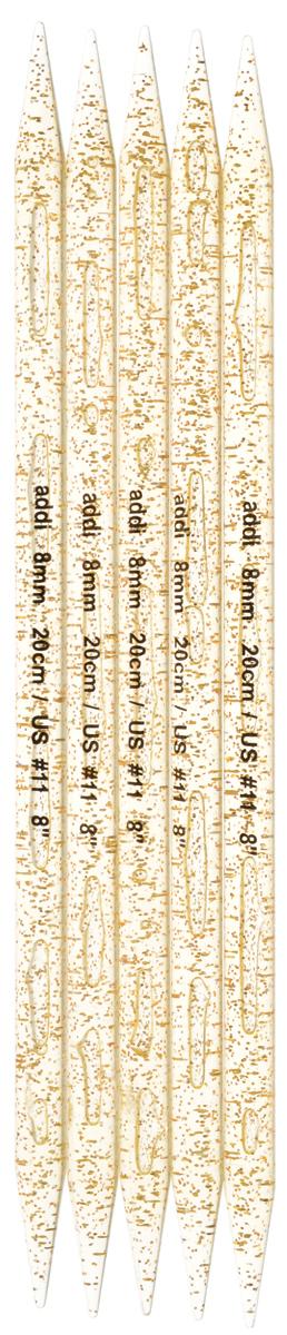 Спицы чулочные Addi, пластиковые, прямые, цвет: шампань, диаметр 8 мм, длина 20 см, 5 шт401-7/8-20Спицы для вязания Addi, изготовленные из высококачественного пластика с золотистыми вкраплениями, не имеют ограничителей и предназначены для вязания бейки горловины, чулок, шапочек, варежек и носков. Спицы прочные, легкие, гладкие и удобные в использовании. Вы сможете вязать для себя и делать подарки друзьям. Рукоделие всегда считалось изысканным, благородным делом. Работа, сделанная своими руками, долго будет радовать вас и ваших близких.