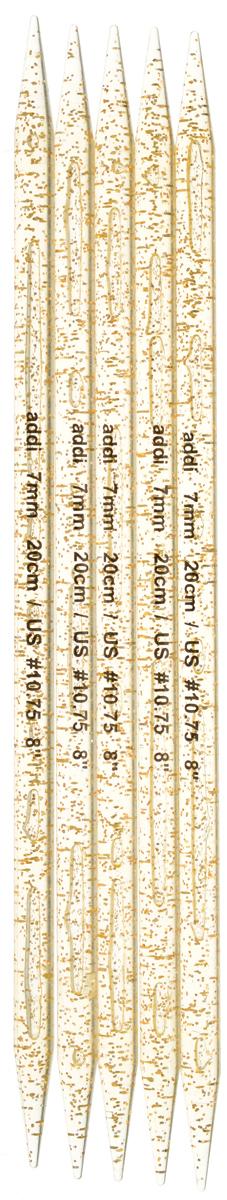 Спицы чулочные Addi, пластиковые, прямые, цвет: шампань, диаметр 7 мм, длина 20 см, 5 шт401-7/7-20Спицы для вязания Addi, изготовленные из высококачественного пластика с золотистыми вкраплениями, не имеют ограничителей и предназначены для вязания бейки горловины, чулок, шапочек, варежек и носков. Спицы прочные, легкие, гладкие и удобные в использовании. Вы сможете вязать для себя и делать подарки друзьям. Рукоделие всегда считалось изысканным, благородным делом. Работа, сделанная своими руками, долго будет радовать вас и ваших близких.