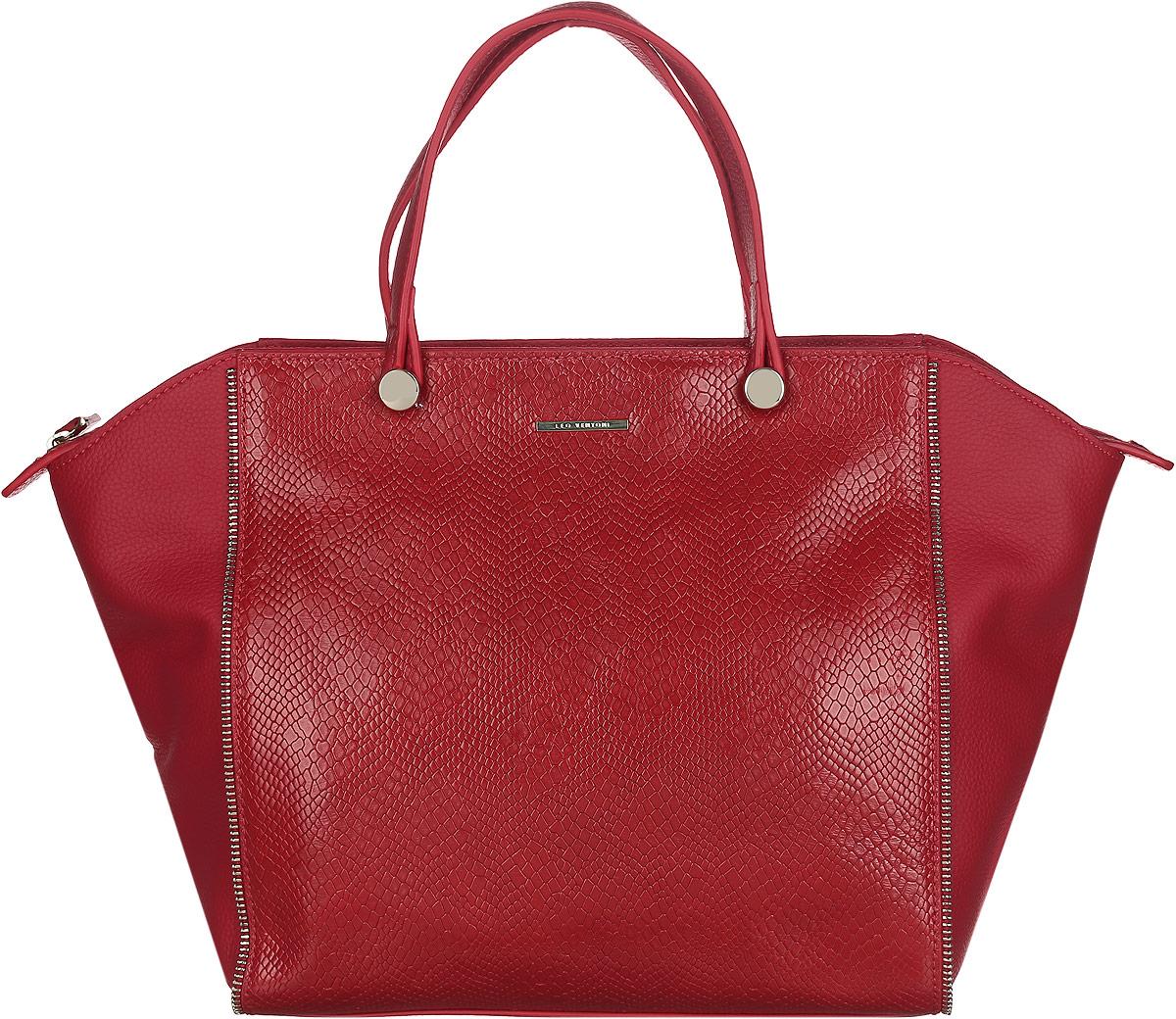 Сумка женская Leo Ventoni, цвет: красный. LV6394LV6394Стильная женская сумка Leo Ventoni выполнена из натуральной кожи зернистой фактуры с центральными вставками с тиснением под кожу змеи. Модель оформлена декоративными молниями и логотипом бренда. Сумка состоит из одного отделения, закрывающегося на пластиковую застежку-молнию. Изделие содержит врезной карман на молнии, открытый карман на кнопке, накладной карман на молнии и два накладных кармашка для мелочей и телефона. На тыльной стороне сумки расположен врезной карман на молнии. Сумка оснащена двумя удобными ручками и съемным плечевым ремнем. Плоское дно придает сумке устойчивость. Прилагается фирменный текстильный чехол для хранения изделия. Стильный аксессуар отлично завершит модный образ и подчеркнет ваш безупречный вкус.
