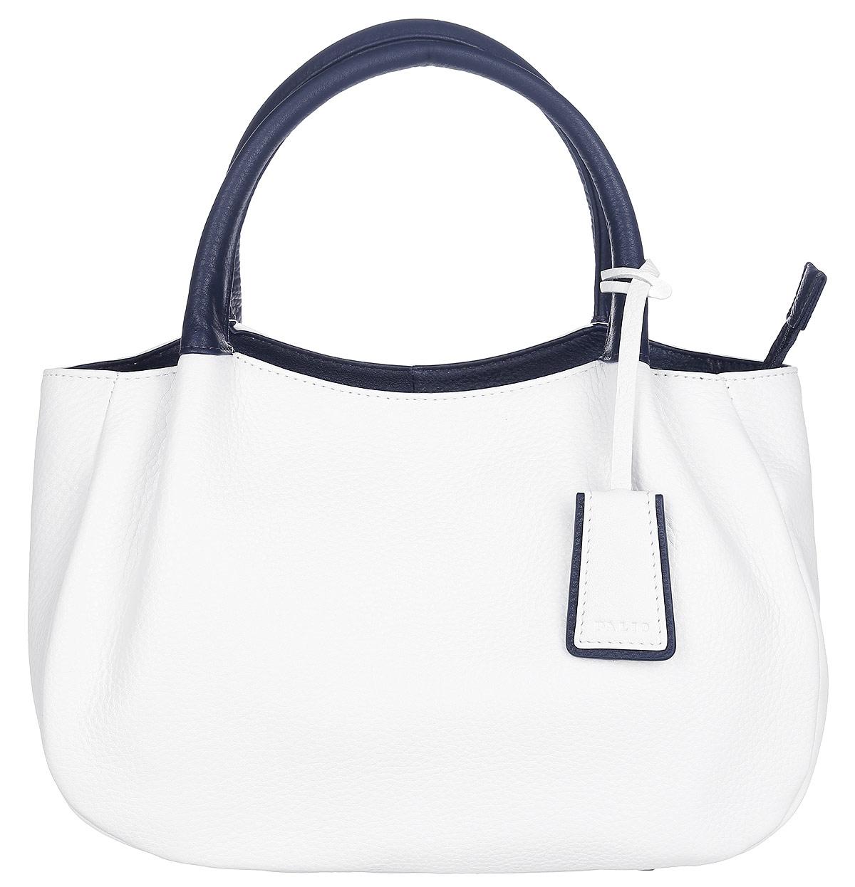 Сумка женская Palio, цвет: белый. 13684AS3-W1 065/81813684AS3-W1 065/818 whiteСтильная сумка Palio, выполненная из натуральной кожи с зернистой фактурой, оформлена декоративной подвеской с символикой бренда. Изделие застегивается на застежку-молнию. Внутри сумки расположены два накладных кармашка для мелочей, карман-средник на молнии и врезной карман на молнии. На задней стороне сумки расположен врезной карман на молнии. Изделие оснащено съемным плечевым ремнем регулируемой длины и двумя удобными ручками, дно дополнено металлическими ножками. К сумке прилагается фирменный чехол для хранения. Элегантная сумка прекрасно дополнит ваш образ.