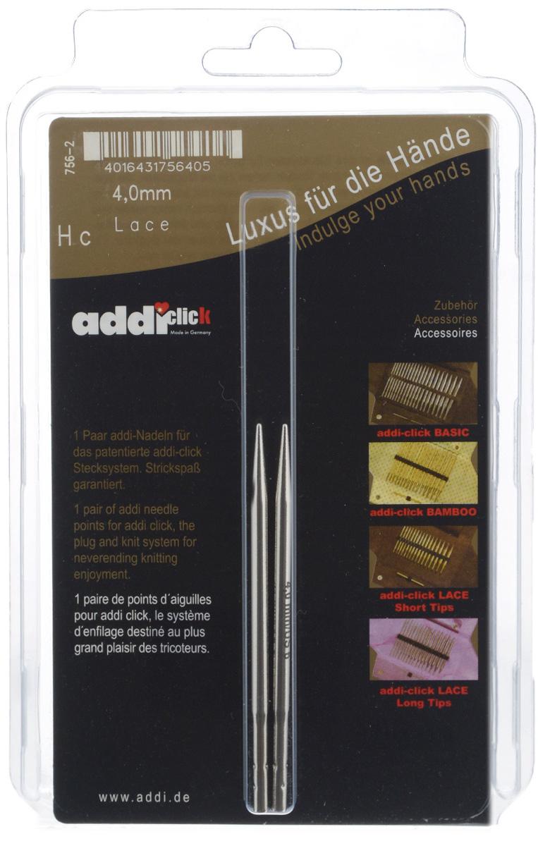Спицы сменные Addi Click. Lace, из латуни с никелевым покрытием, с удлиненным кончиком, диаметр 4 мм, 2 шт756-2/4-000Сменные спицы Addi Click. Lace, изготовленные из никелированной латуни с удлиненным кончиком, имеют гладкую поверхность . Известная на весь мир и единственная система смены спиц Click позволяет просто и удобно защелкивать их, не оставляя абсолютно никакого зазора между спицей и леской. Не нужно ввинчивать и использовать ключ. Также система Click позволяет работать с двумя спицами различной толщины. Со спицами Addi Click. Lace вы сможете вязать для себя и делать подарки друзьям. Рукоделие всегда считалось изысканным, благородным делом. Работа, сделанная своими руками, долго будет радовать вас и ваших близких. Длина спицы: 8,7 см.