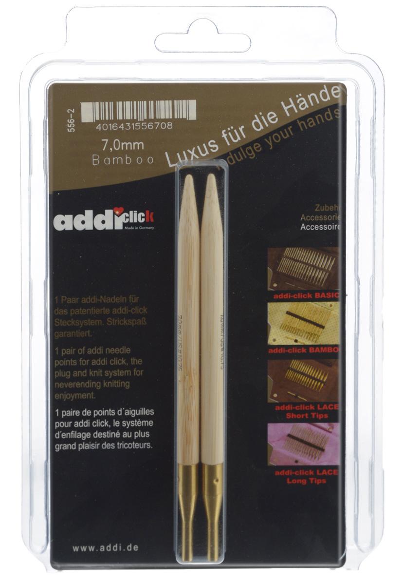 Спицы сменные Addi Click, бамбуковые, диаметр 7 мм, 2 шт556-2/7-000Сменные спицы Addi изготовлены из прочного японского бамбука. Поверхность обработана специальным, высокотехнологичным японским воском, который закрывает поры бамбука и делает поверхность абсолютно гладкой. Благодаря известной на весь мир и единственной системе смены спиц Click их не надо ввинчивать и использовать ключ. Они просто и удобно защелкиваются, не оставляя абсолютно никакого зазора между спицей и леской. Также такая система позволяет работать с двумя спицами различной толщины. Бамбуковые спицы предназначены для вязания шапочек, варежек, носков и других вещей. Спицы Addi идеальны для людей с аллергией на металл и их едва слышно при вязании. Вы сможете вязать для себя и делать подарки друзьям. Рукоделие всегда считалось изысканным, благородным делом. Работа, сделанная своими руками, долго будет радовать вас и ваших близких. Длина одной спицы: 12,6 см.