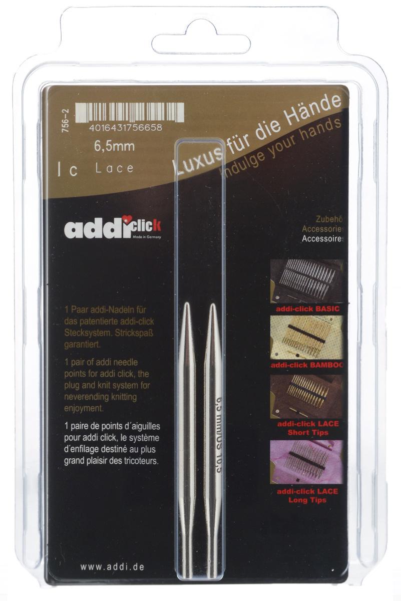 Спицы сменные Addi Click. Lace, из латуни с никелевым покрытием, с удлиненным кончиком, диаметр 6,5 мм, 2 шт756-2/6.5-000Сменные спицы Addi Click. Lace, изготовленные из никелированной латуни с удлиненным кончиком, имеют гладкую поверхность. Известная на весь мир и единственная система смены спиц Click позволяет просто и удобно защелкивать их, не оставляя абсолютно никакого зазора между спицей и леской. Не нужно ввинчивать и использовать ключ. Также система Click позволяет работать с двумя спицами различной толщины. Со спицами Addi Click. Lace вы сможете вязать для себя и делать подарки друзьям. Рукоделие всегда считалось изысканным, благородным делом. Работа, сделанная своими руками, долго будет радовать вас и ваших близких. Длина спицы: 8,7 см.