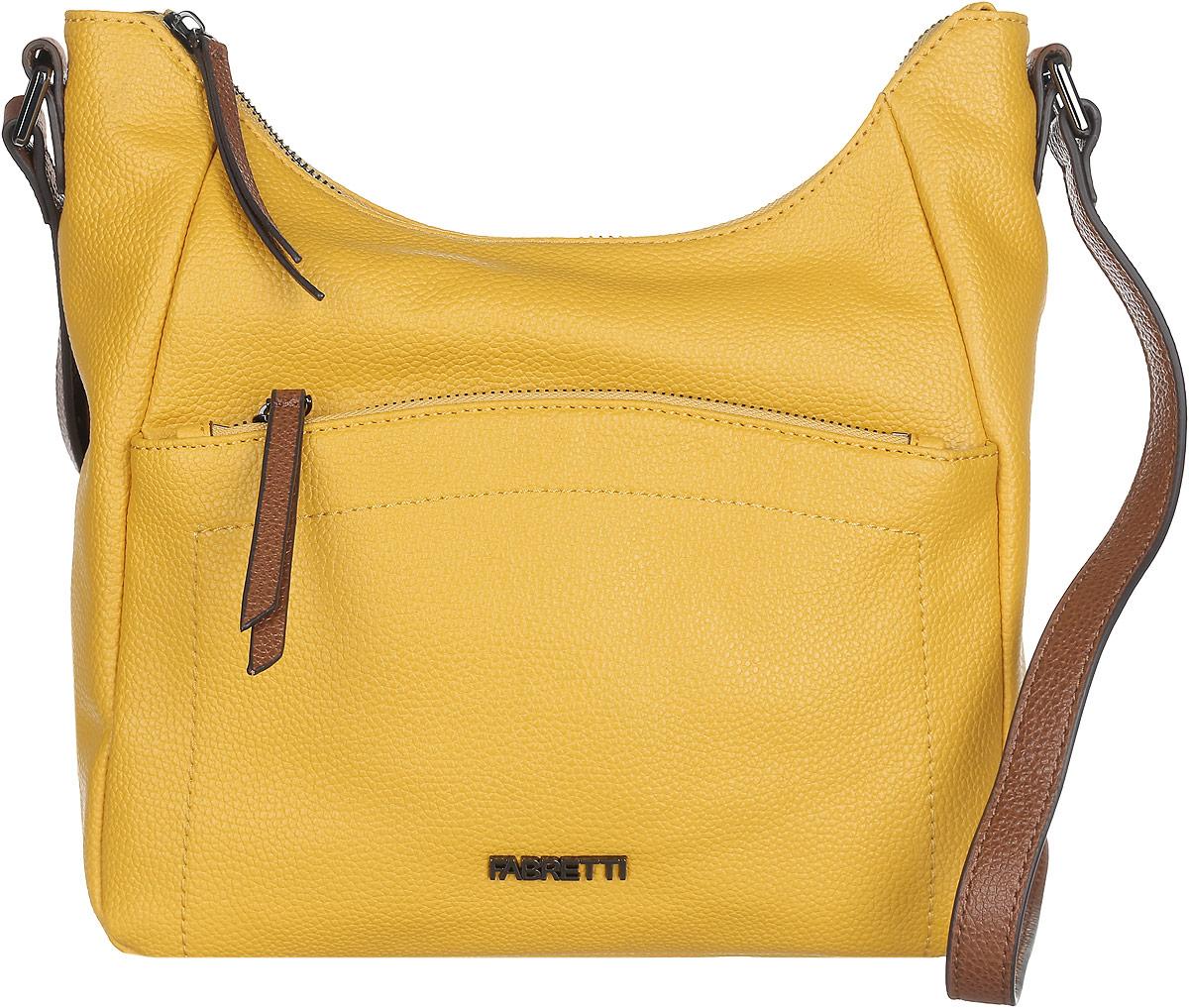 Сумка женская Fabretti, цвет: желтый, коричневый. N2541N2541-yellowСтильная женская сумка Fabretti выполнена из натуральной кожи с фактурным тиснением. Изделие содержит одно вместительное отделение, которое закрывается на застежку-молнию. Внутри расположены два накладных кармашка для мелочей, карман-средник на застежке-молнии и два врезных кармана на молнии. Снаружи, на лицевой стороне сумки, расположен накладной карман на застежке-молнии, а на задней стороне расположен врезной карман на застежке-молнии. Сумка оснащена удобным плечевым ремнем, который можно регулировать по длине. Оригинальный аксессуар позволит вам завершить образ и быть неотразимой.
