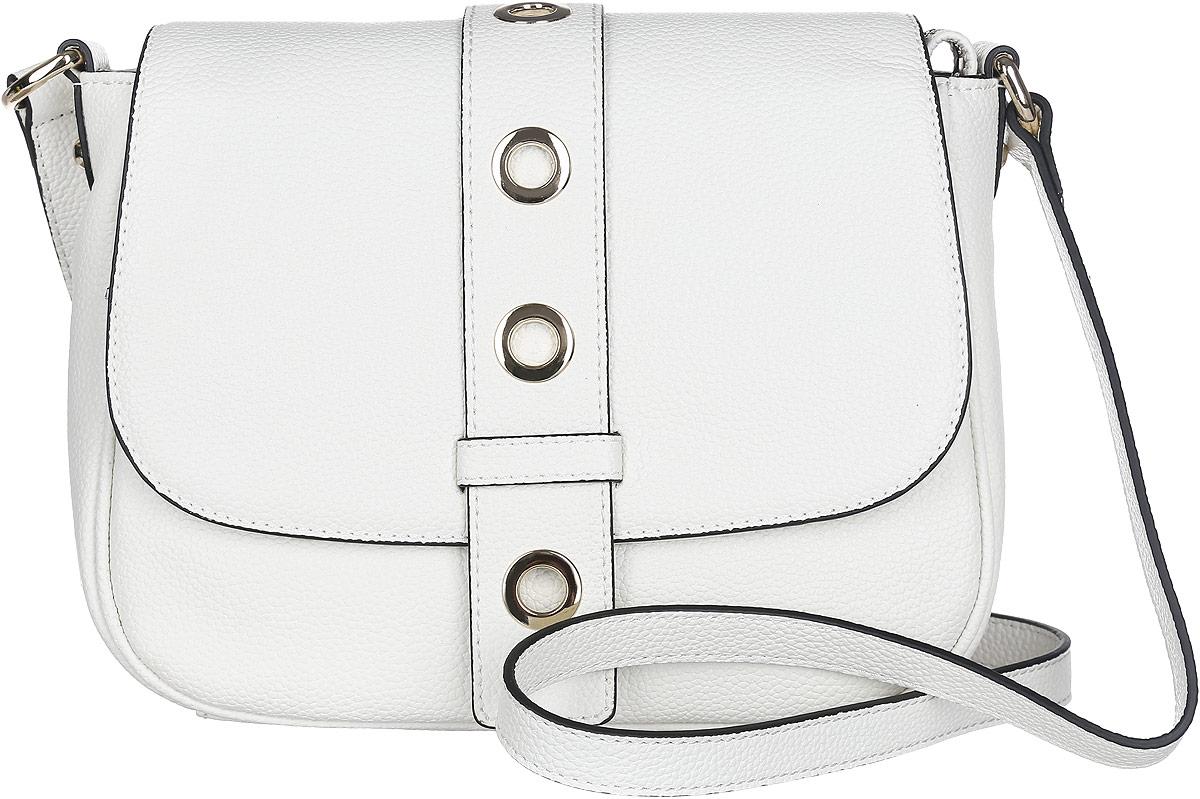 Сумка кросс-боди женская Fabretti, цвет: белый. N2538N2538-whiteСтильная женская сумка Fabretti выполнена из натуральной кожи с фактурным тиснением. Изделие содержит одно вместительное отделение, которое закрывается клапаном на магнитную застежку и дополнительно на застежку-молнию. Внутри расположены один накладной кармашек для мелочей, карман-средник на застежке-молнии и один врезной карман на молнии. Снаружи, на задней стороне сумки, расположен врезной карман на застежке-молнии. Сумка оснащена удобным плечевым ремнем, который можно регулировать по длине. Оригинальный аксессуар позволит вам завершить образ и быть неотразимой.