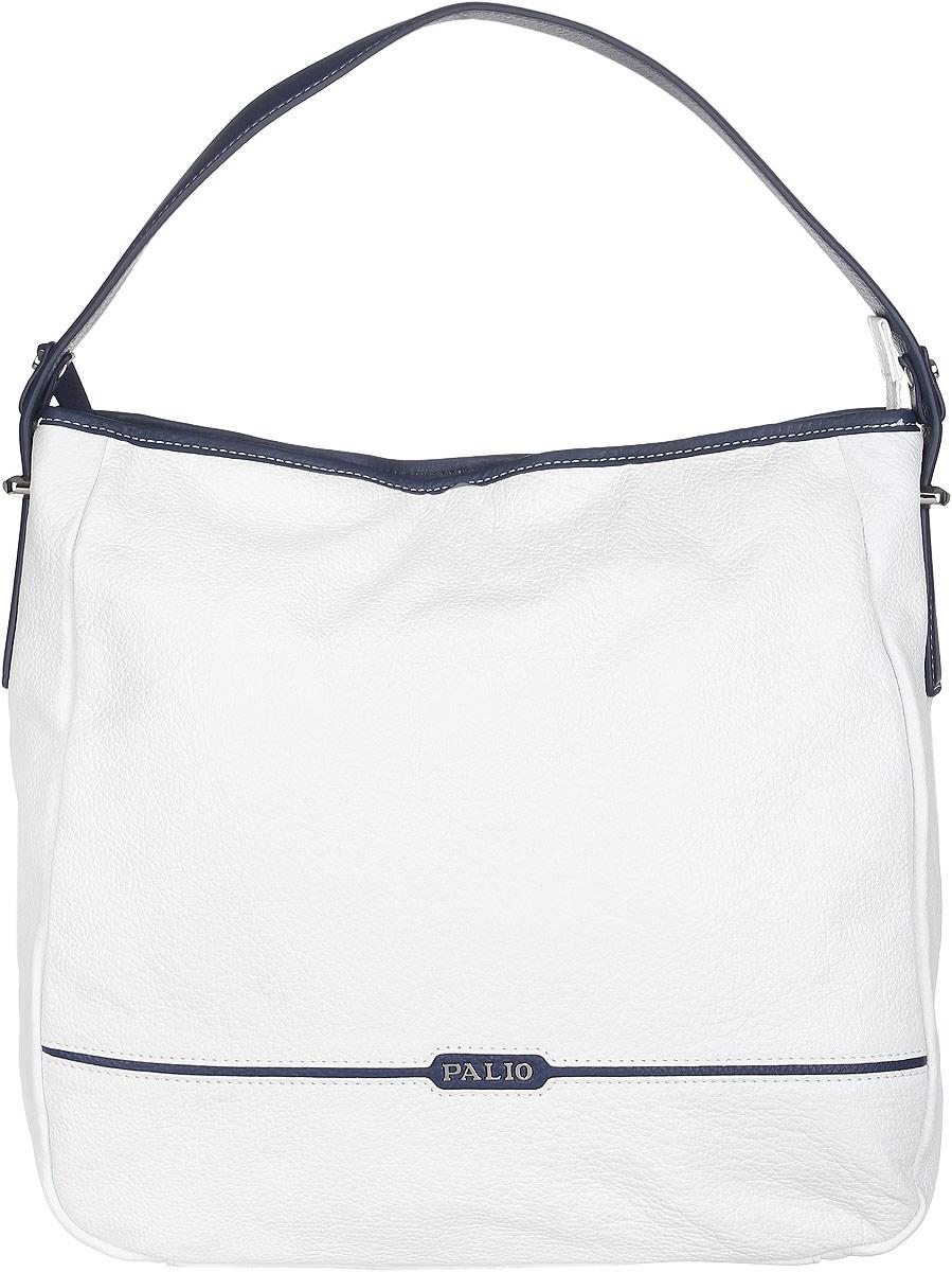 Сумка женская Palio, цвет: белый, темно-синий. 14265A1-W1-065/89714265A1-W1-065/897 whiteСтильная и практичная женская сумка Palio выполнена из натуральной кожи зернистой фактуры, оформлена логотипом бренда и металлической фурнитурой. Изделие состоит из одного вместительного отделения, закрывающегося на пластиковую застежку-молнию. Сумка не имеет жесткого каркаса и свою форму изменяет соответственно наполнению. Внутри расположены карман-средник на молнии, врезной карман на молнии и два накладных кармашка для мелочей и телефона. Снаружи, на задней стороне сумки, расположен врезной карман на молнии. Сумка оснащена одной удобной ручкой, высота которой позволяет носить ее на сгибе руки или на плече. Прилагается фирменный текстильный чехол для хранения изделия. Оригинальный аксессуар позволит вам завершить образ и быть неотразимой.