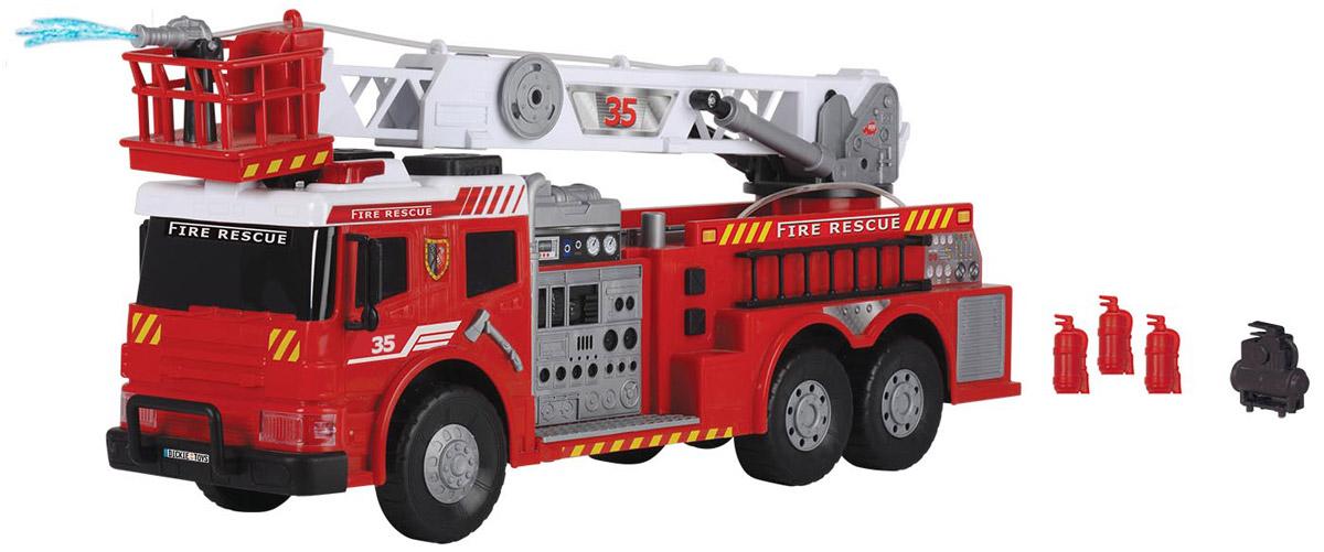 Dickie Toys Пожарная машина с водометом Fire Brigade3719003Пожарная машина Dickie Toys Fire Brigade станет отличным подарком для вашего ребенка. Стрела пожарной машины поднимается и выдвигается. Кроме того, она может вращаться вокруг своей оси. На корзинке стрелы имеется пожарный водомет, который управляется с помощью кнопки на кузове. Предварительно машину необходимо заправить водой. Кнопки на борту машины активируют световые и звуковые эффекты: мигание проблесковых маячков, сирену. В комплекте с машиной идут 4 дорожных конуса, 4 огнетушителя, электрический насос. С этой игрушкой ваш малыш будет часами занят игрой. Порадуйте его таким замечательным подарком! Для работы игрушки необходимы 2 батарейки напряжением 1,5V типа АА (товар комплектуется демонстрационными).
