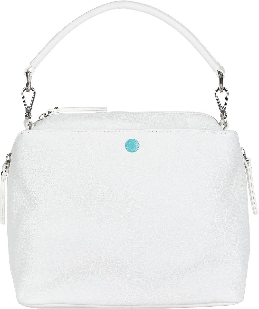 Сумка женская Palio, цвет: белый. 14422A-06514422A-065 whiteСтильная женская сумка Palio выполнена из натуральной кожи зернистой фактуры и оформлена металлической фурнитурой. Сумка не имеет жесткого каркаса и меняет свою форму соответственно наполнению. Изделие состоит из одного основного отделения, закрывающегося на пластиковую застежку-молнию. Внутри расположены врезной карман на молнии и два накладных кармашка для мелочей и телефона. Лицевая сторона дополнена прорезным карманом, который закрывается на кнопку контрастного цвета с тиснением логотипа бренда. На тыльной стороне сумки расположен врезной карман на молнии. Предусмотрены дополнительные боковые кармашки на молниях. Сумка оснащена съемной ручкой для переноски в руке и съемным плечевым ремнем, регулируемым по длине. Прилагается фирменный текстильный чехол для хранения изделия. Оригинальный аксессуар позволит вам завершить образ и быть неотразимой.