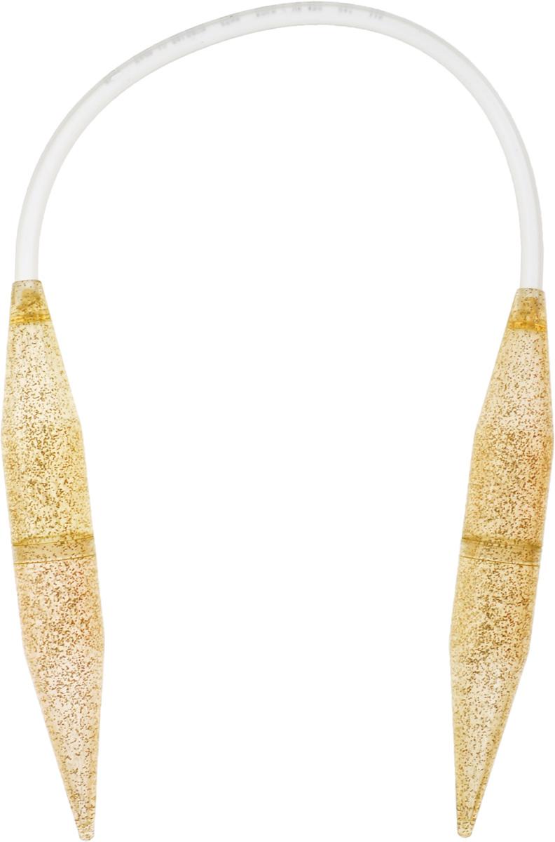 Спицы Addi, круговые, диаметр 25 мм, длина 60 см405-7/25-60Спицы Addi выполнены из высококачественного пластика с золотистыми блестками. Гладкая поверхность дает дополнительное скольжение пряжи при вязании. Кончики спиц закругленные. Спицы скреплены гибким и прочным пластиковым шнуром. Благодаря большой толщине спиц руки не устают при вязании. Вы сможете вязать для себя, делать подарки друзьям. Работа, сделанная своими руками, долго будет радовать вас и ваших близких.