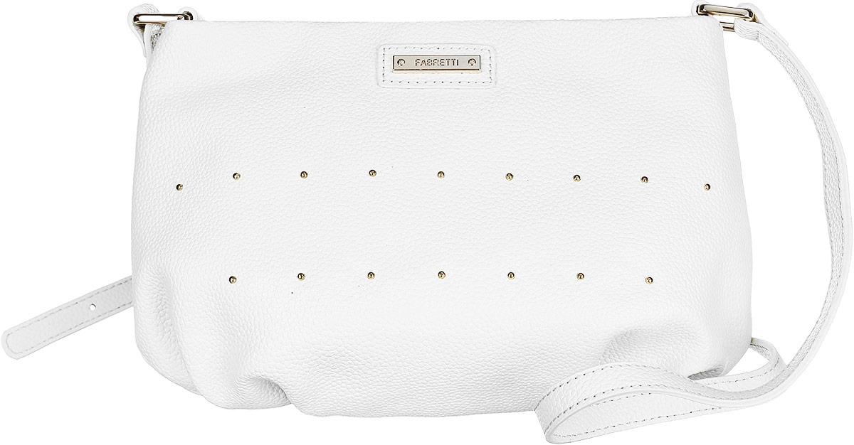Сумка кросс-боди женская Fabretti, цвет: белый. N2551N2551-whiteСтильная женская сумка кросс-боди Fabretti выполнена из натуральной кожи с фактурным тиснением и оформлена декоративными металлическими элементами. Изделие содержит одно отделение, которое закрывается на застежку-молнию. Внутри расположены один накладной кармашек для мелочей и один врезной карман на молнии. Сумка оснащена удобным плечевым ремнем, который можно регулировать по длине. Оригинальный аксессуар позволит вам завершить образ и быть неотразимой.