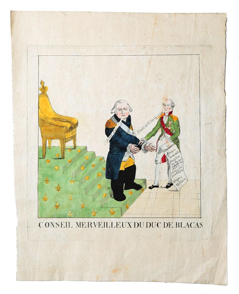 Замечательный совет герцога де Блака. Гравюра, ручная раскраска. Франция, 1815 годНВА-2 2508 16-39Гравюра 1815 года. Ручная раскраска акварелью своего времени. Неизвестный художник. Размер листа: 26,5 х 33,5 см. Размер изображения: 20 х 20 см. Сохранность хорошая. Легкие пятна. Вашему вниманию предлагается сатирическая гравюра периода реставрации Бурбонов во Франции. Не подлежит вывозу за пределы Российской Федерации.