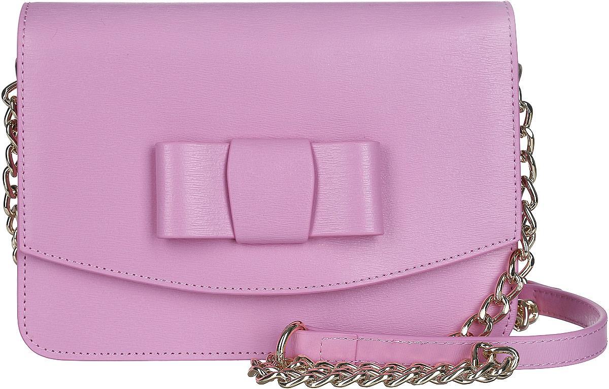 Сумка кросс-боди женская Galaday, цвет: розовый. GD4952QGD4952Q-pinkСтильная женская сумка кросс-боди Galaday выполнена из натуральной кожи с фактурным тиснением и имеет жесткую конструкцию. Модель оформлена тиснением логотипа бренда и декоративным бантом. Изделие состоит из одного основного отделения, закрывающегося клапаном на магнитную кнопку. Внутри расположены накладной карман на молнии, два открытых кармашка, один из которых закрывается кнопкой. Снаружи, на задней стороне сумки, расположен накладной открытый карман. Сумка оснащена несъемным плечевым ремнем, выполненным в виде металлической цепочки. Прилагается фирменный текстильный чехол для хранения изделия. Роскошная сумка кросс-боди внесет элегантные нотки в ваш образ и подчеркнет ваше отменное чувство стиля.
