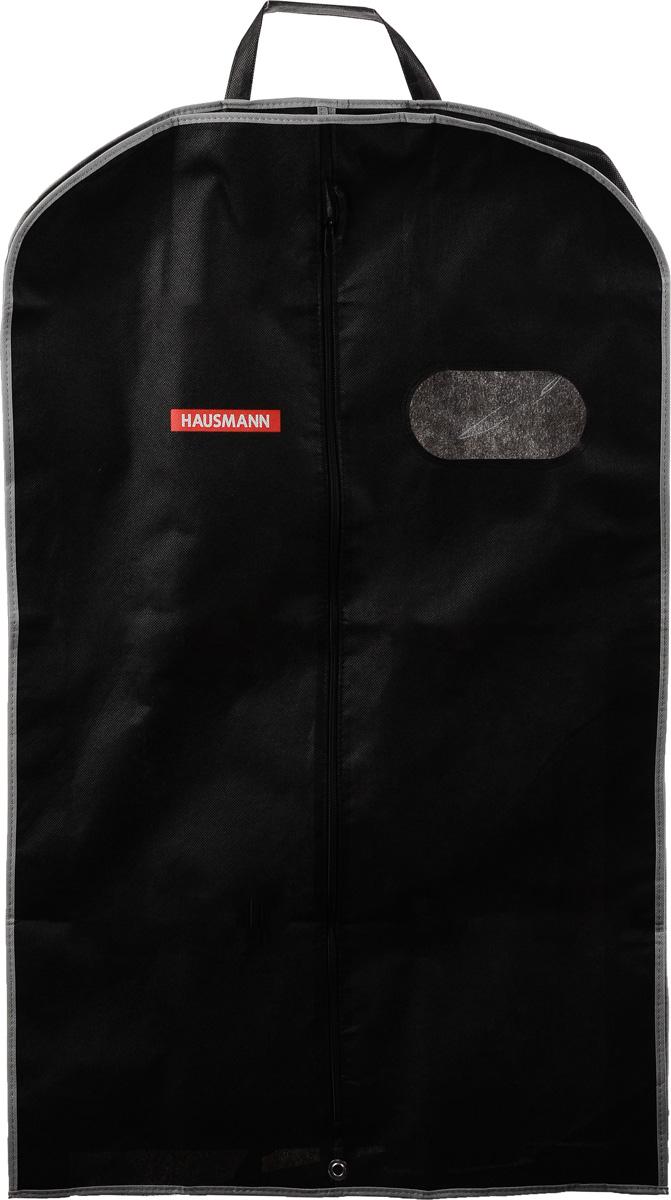 Чехол для одежды Hausmann, подвесной, с прозрачной вставкой, цвет: черный, 60 х 100 х 10 смHM-701003CB_черныйПодвесной чехол для одежды Hausmann на застежке-молнии выполнен из высококачественного нетканого материала. Чехол снабжен прозрачной вставкой из ПВХ, что позволяет легко просматривать содержимое. Изделие подходит для длительного хранения вещей. Чехол обеспечит вашей одежде надежную защиту от влажности, повреждений и грязи при транспортировке, от запыления при хранении и проникновения моли. Чехол обладает водоотталкивающими свойствами, а также позволяет воздуху свободно поступать внутрь вещей, обеспечивая их кондиционирование. Это особенно важно при хранении кожаных и меховых изделий. Чехол для одежды Hausmann создаст уютную атмосферу в гардеробе. Лаконичный дизайн придется по вкусу ценительницам эстетичного хранения и сделают вашу гардеробную изысканной и невероятно стильной. Размер чехла (в собранном виде): 60 х 100 х 10 см.