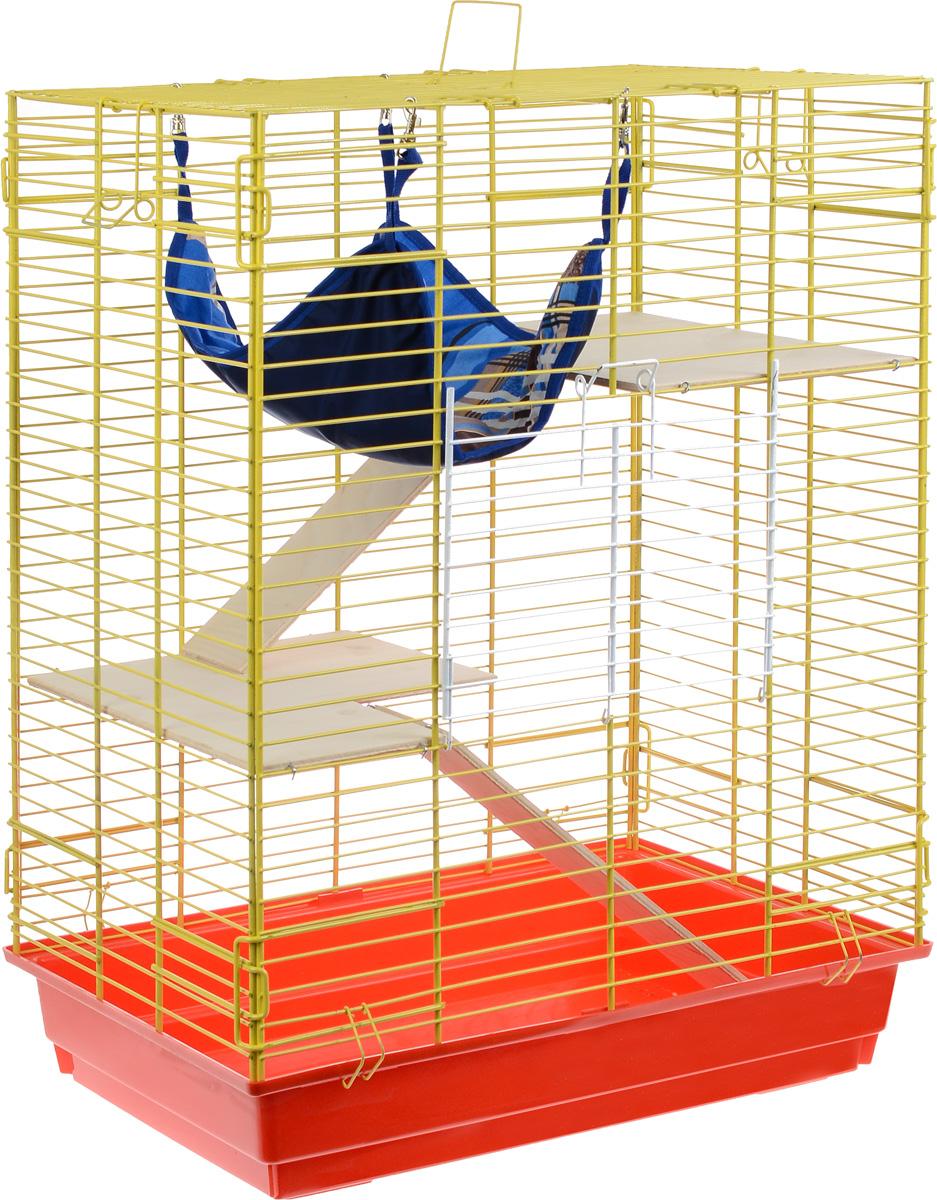 Клетка для шиншилл и хорьков ЗооМарк, цвет: красный поддон, желтая решетка, 59 х 41 х 79 см. 725дк725дк_красный, желтыйКлетка ЗооМарк, выполненная из полипропилена и металла, подходит для шиншилл и хорьков. Большая клетка оборудована длинными лестницами и гамаком. Изделие имеет яркий поддон, удобно в использовании и легко чистится. Сверху имеется ручка для переноски. Такая клетка станет уединенным личным пространством и уютным домиком для грызуна.