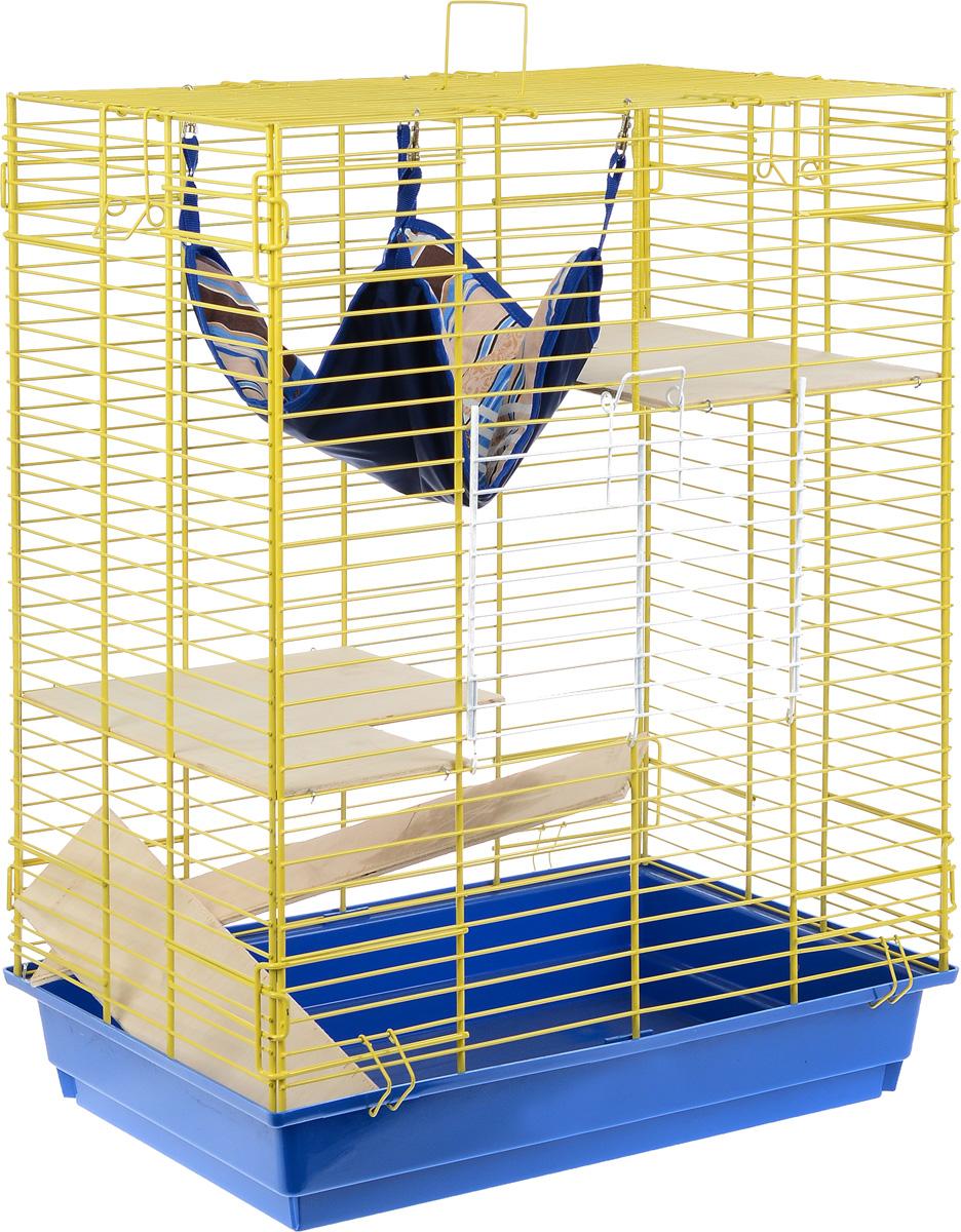 """Клетка для шиншилл и хорьков """"ЗооМарк"""", цвет: синий поддон, желтая решетка, 59 х 41 х 79 см. 725дк"""