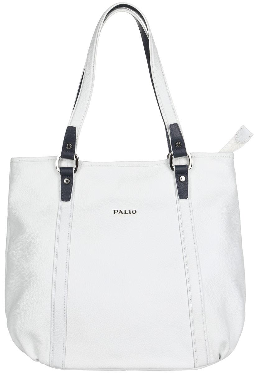 Сумка женская Palio, цвет: белый. 14351A-W1-065/81914351A-W1-065/819 whiteСтильная женская сумка Palio выполнена из натуральной кожи зернистой фактуры, оформлена декоративными складками и логотипом бренда. Модель состоит из одного основного отделения и закрывается на застежку-молнию. Изделие содержит карман-средник на молнии, врезной карман на молнии и два нашивных кармана для мелочей и телефона. Снаружи, на задней стороне изделия, расположен дополнительный врезной карман на молнии. Сумка оснащена двумя удобными ручками, высота которых позволяет носить ее на сгибе руки или на плече. Прилагается фирменный текстильный чехол для хранения изделия. Оригинальный аксессуар позволит вам завершить образ и быть неотразимой.