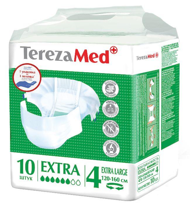 TerezaMed Подгузники для взрослых Normal Extra Large №4 10 шт6267Подгузники TerezaMed Normal Extra Large предназначены для больных недержанием средней тяжести. Подгузник выполнен из мягкого дышашего материала, который пропускает пары влаги. Это позволяет коже пациента под подгузником дышать, а так же снижает риск появления опрелостей. Ядро подгузника состоит из натурального материала - целлюлозы, в которую добавлен суперабсорбент, впитывающий жидкость в больших количествах и обладающий свойством подавлять развитие неприятного запаха. Зеленый распределительный слой эффективно впитывает жидкость и распределяет ее внутри подгузника, тем самым снижая риск появления протечек. Крепление подгузника обеспечивается надежными липучками типа замочек, что позволяет многократно их приклеивать и отклеивать. Боковые бортики вокруг ног сделаны из гидрофобного материала и надежно запирают жидкость внутри. Размер талии пациента: очень большой, 100-170см. Количество в упаковке: 10 штук. Впитываемость: 2500 мл ±5%