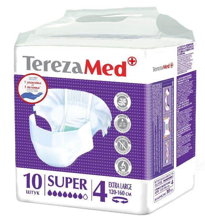 TerezaMed Подгузники для взрослых Super Extra Large №4 10 шт6269Подгузники TerezaMed Super Extra Large предназначены для больных с серьезной формой недержания. Подгузник выполнен из мягкого дышашего материала, который пропускает пары влаги. Это позволяет коже пациента под подгузником дышать, а так же снижает риск появления опрелостей. Ядро подгузника состоит из натурального материала - целлюлозы, в которую добавлен суперабсорбент, впитывающий жидкость в больших количествах и обладающий свойством подавлять развитие неприятного запаха. Зеленый распределительный слой эффективно впитывает жидкость и распределяет ее внутри подгузника, тем самым снижая риск появления протечек. Крепление подгузника обеспечивается надежными липучками типа замочек, что позволяет многократно их приклеивать и отклеивать. Боковые бортики вокруг ног сделаны из гидрофобного материала и надежно запирают жидкость внутри. Размер талии пациента: очень большой, 100-170см. Количество в упаковке: 10 штук. Впитываемость: 3200 мл ±5%