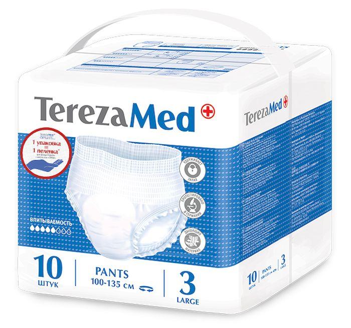 TerezaMed Подгузники-трусы для взрослых Large №3 10 шт18209Подгузники-трусики TerezaMed Large предназначены для активных людей с легкой и средней формой недержания. Они выполнены из мягкого дышашего материала, который пропускает пары влаги. Это позволяет коже пациента под подгузником дышать, а так же снижает риск появления опрелостей. Ядро подгузника состоит из натурального материала - целлюлозы, в которую добавлен суперабсорбент, впитывающий жидкость в больших количествах и обладающий свойством подавлять развитие неприятного запаха. Распределительный слой эффективно впитывает жидкость и распределяет ее внутри подгузника, тем самым снижая риск появления протечек. Боковые бортики вокруг ног сделаны из гидрофобного материала и надежно запирают жидкость внутри. Размер талии пациента: большой, 100-135см. Количество в упаковке: 10 штук. Впитываемость: 1300 мл (±5%).