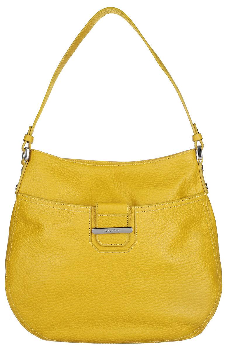 Сумка женская Galaday, цвет: желтый. GD4661GD4661 yellowСтильная сумка Galaday, выполненная из натуральной кожи с зернистой фактурой, оформлена металлической фурнитурой с символикой бренда. Изделие застегивается клапаном на застежку-молнию. Внутри расположены два накладных кармашка для мелочей, карман-средник на молнии и врезной карман на молнии. На задней стороне сумки расположен врезной карман на молнии. Лицевая сторона оснащена накладным карманом на магнитной кнопке. Изделие оснащено практичной лямкой. К сумке прилагается фирменный чехол для хранения. Элегантная сумка прекрасно дополнит ваш образ.