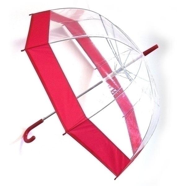 Зонт-трость женский Эврика, механика, 3 сложения, цвет: прозрачный, красный. 94291 ( 94291 )